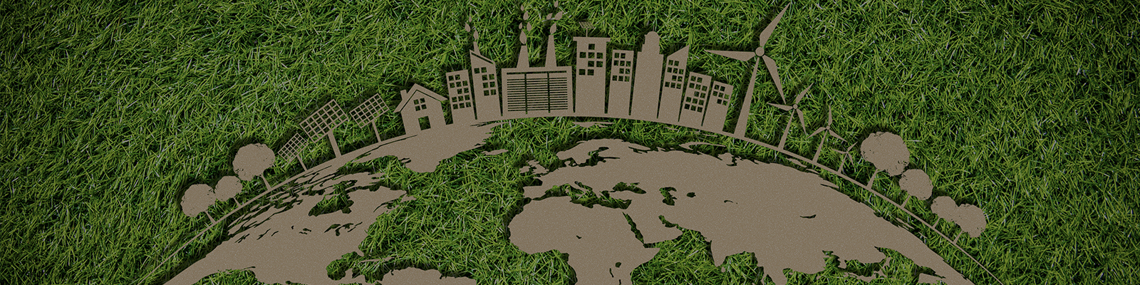 earth graphic with sustainable buildings